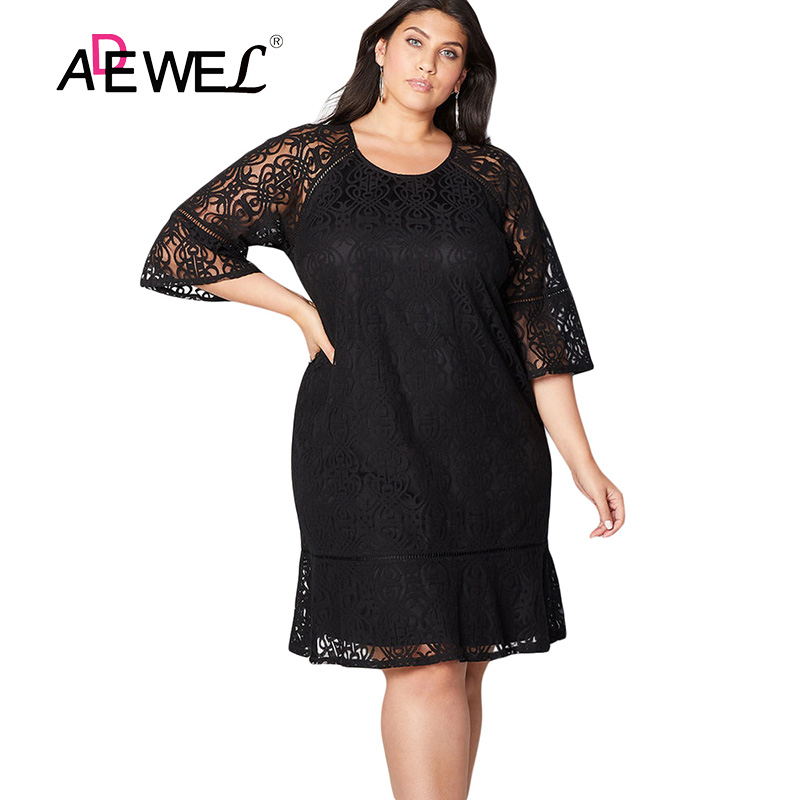 Detail Feedback Questions about ADEWEL Black Navy Purple Plus Size Crochet  Lace Overlay Party Midi Dress 5XL Women Sexy Large Size Evening Gowns Lace  ... 98bc95fcee60
