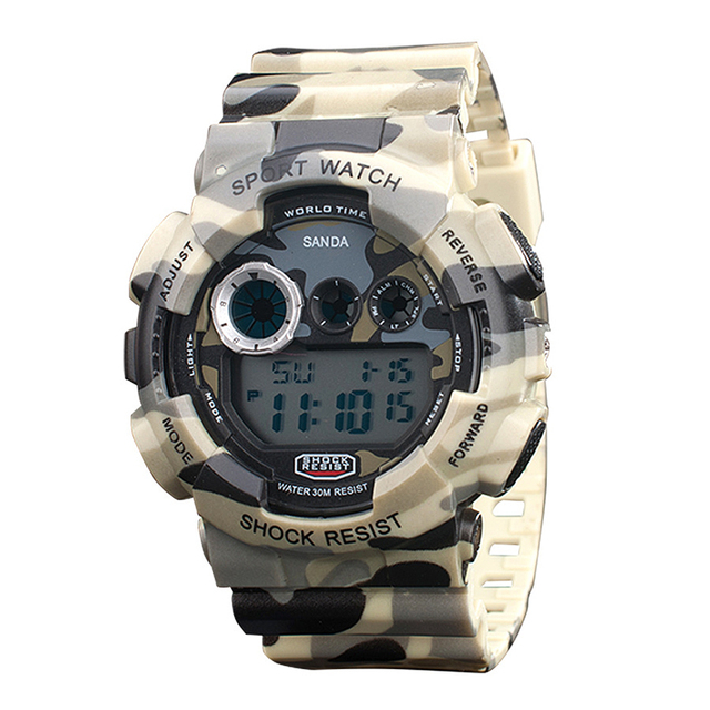 XINJIA Multi-functional Military Camouflage Men's Dual Display Wristwatches Outdoor Waterproof Men 's Watches relogio KT-51