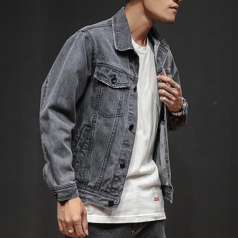 New 2019 Casual Men's Denim Jacket Fashion Classic Retro Gray Denim Jacket Punk Street Hip Hop Jogging Men's Short Denim Jacket