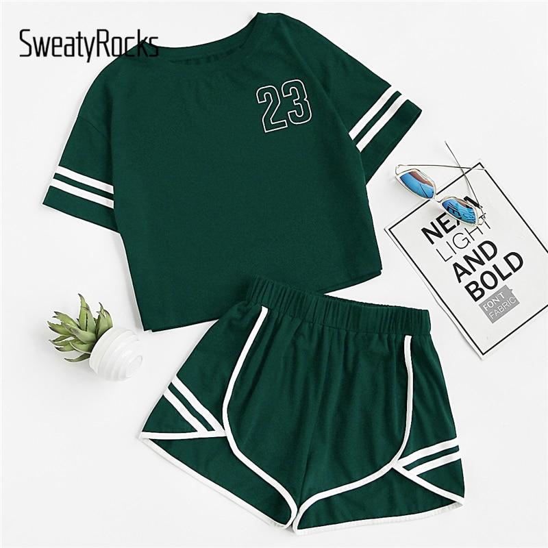 SweatyRocks Crop Varsity T Shirt And Contrast Binding