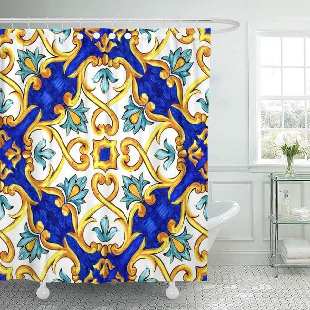 Fabric Shower Curtain With Hooks Watercolor Ethnic On Italian Tiles Majolica Cyan Outline Blue Oriental Arabic Abstract