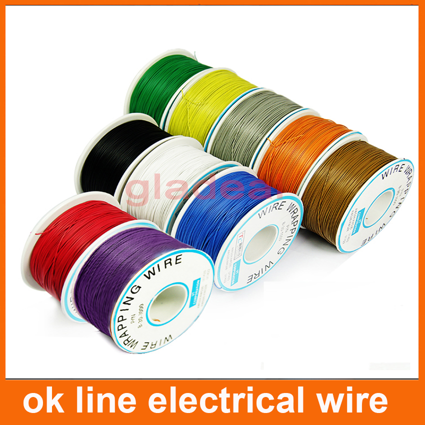 305 meters long electrical wire Wrapping Wrap AWG30 ok line FOR Laptop motherboard PCB connect welding q9 electric cable high quality electrical wire wrapping wire wrap 10 colors single strand copper awg30 cable ok wire