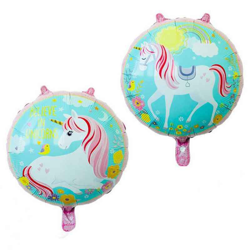 1pcs/ lot 18 inch Round Unicorn Balloon Cartoon Unicorn Kids Birthday Party Decoration Party Supplies Baby Shower Classci Toy