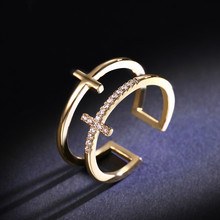Korean version of rose gold double cross opening ring, female For sexy party wedding