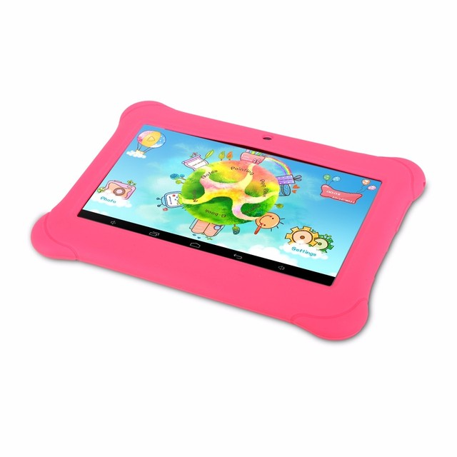 iRULU Y1 BabyPad 7» Android 4.4 Tablet Quad Core Dual Camera Children Tablet 1GB RAM 8G ROM with Silicone Case Candy Color New