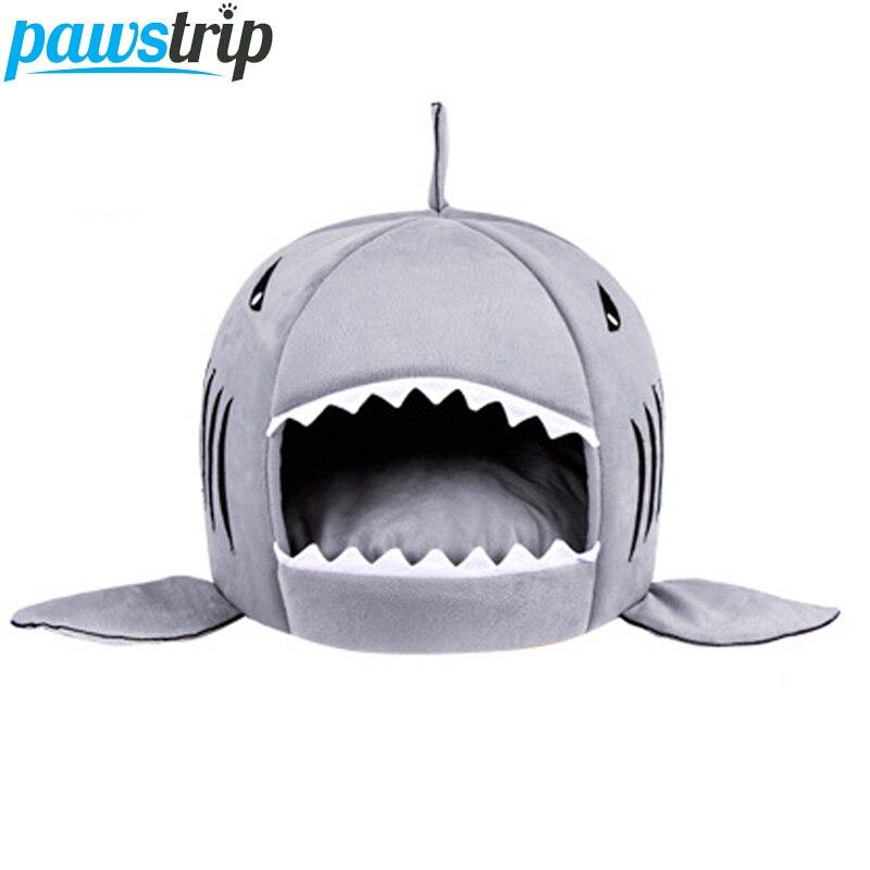 Pawstrip 3 Farben Cartoon Shark Hundebett Haus Winter Warme Bett
