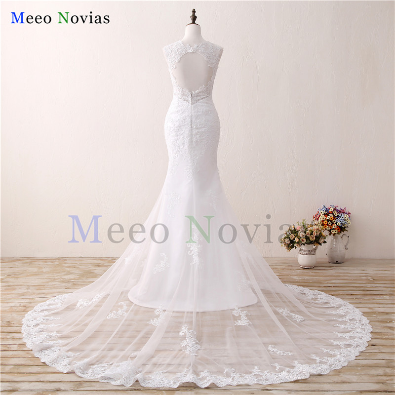 Vintage Lace Appliques Open Back Chapel Train Mermaid Wedding Dress