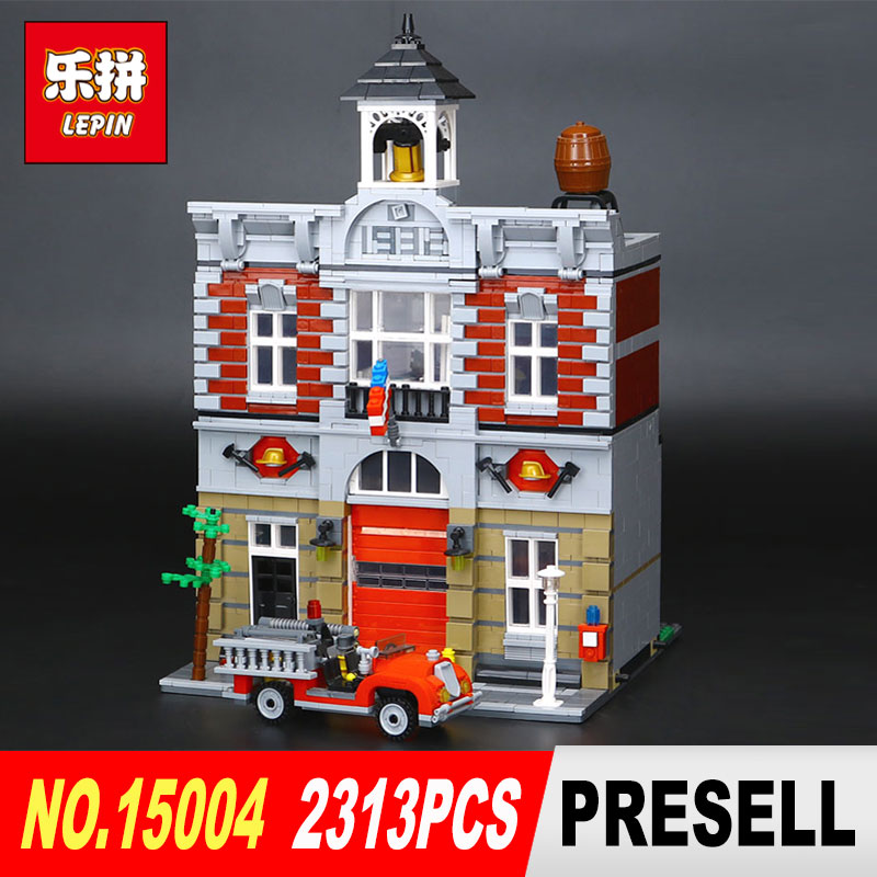 LEPIN 15004 2313Pcs City Street Creator Fire Brigade Model Building Kits Blocks Bricks Compatible 10197 children toy lepin 15018 3196pcs creator city series sunshine hotel model building kits brick toy compatible christmas gifts