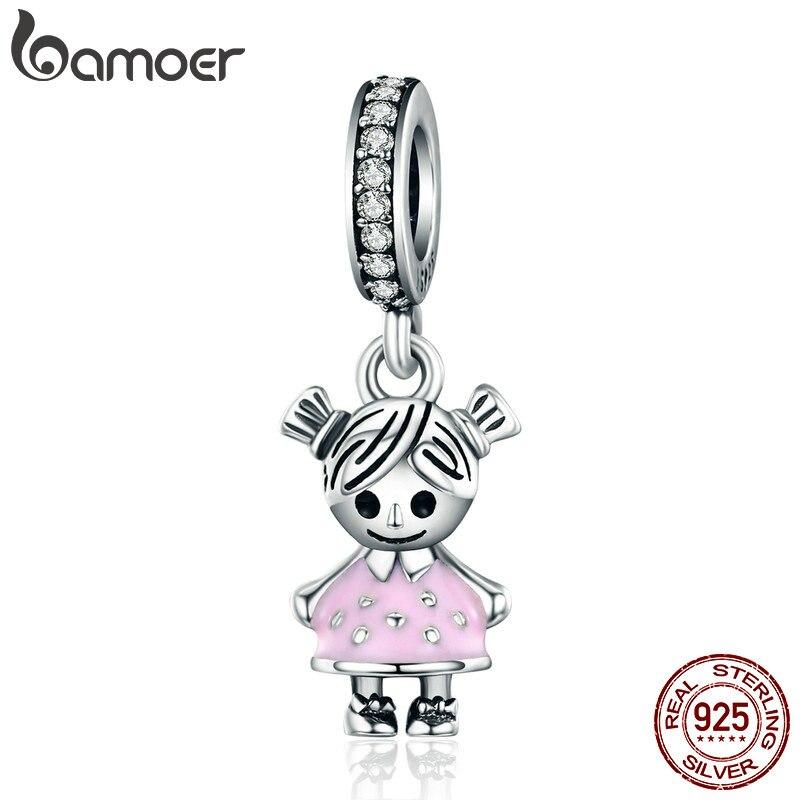 Bamoer moda 100% 925 prata esterlina casal menina pingente charme apto meninas charme pulseira & colares diy jóias scc543