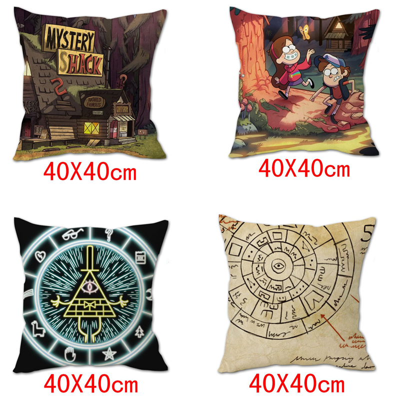 OHCOMICS 40*40CM Anime Gravity Falls Dipper Mabel Bill Cipher Peach Skin Pillow Case Pillow Slip Tick Cushion Cover Home Decor