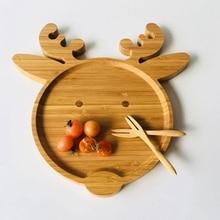 Bamboo Dessert Plates Irregular Deer Disc Tea Dishes Christmas Creative Western Restaurant Tableware Coffee Wood Dinner Plate