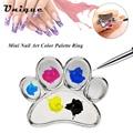 Belen Mini Nail Art Color Palette Eyelash Grafting Plate Alloy Nail Art Tool Finger Ring Mixing Color Palette Painting Polish