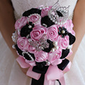 High Quality Pearl Brooches For Wedding Bouquets Ramo De Novia 2017 Bouquet De Mariee Ribbon Bouquet Crystal Bridal Bouquet