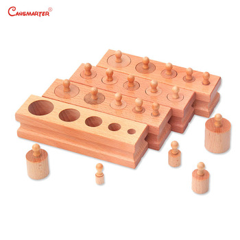 Montessori Educational Toys Knob Cylinder Blocks Beech Wooden Sensory Toys 3-6 Years Home School Toy for Children House SE001-3 wooden sensory toys box with sliding lid attention practice game baby boy 0 3 years home educational toy montessori