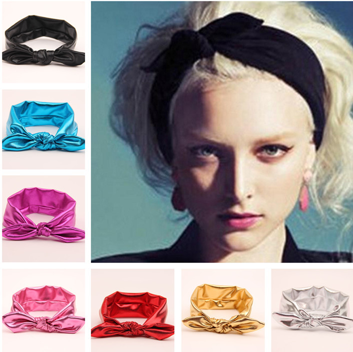 Retail Metallic colors leather women big elastic hair bows head wraps  turban bands bandana headband headbands b080bc0ce5a