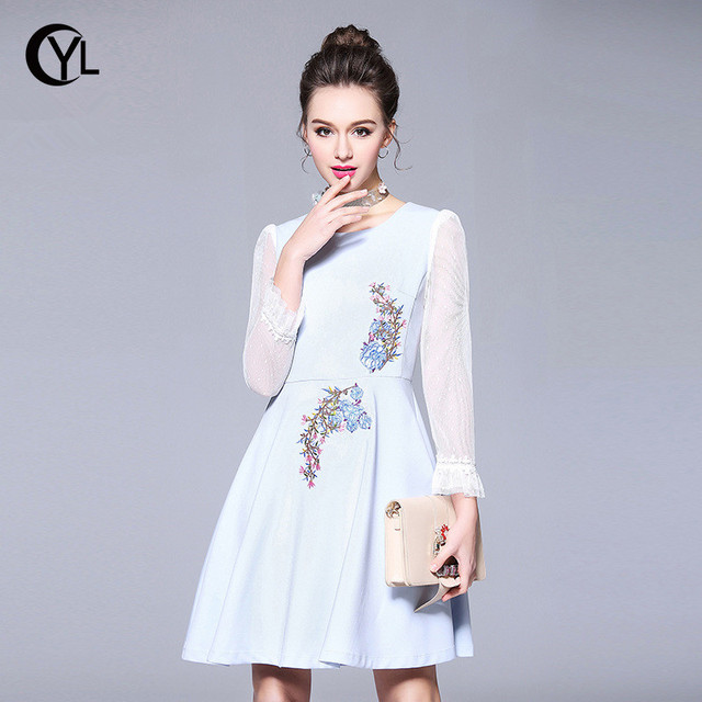 OUYALIN M- XXXXL 5XL Plus size dress Summer 2018 Spring Women Mesh Long  sleeve Floral embroidery Blue A-line Party Dresses c2a48079928b