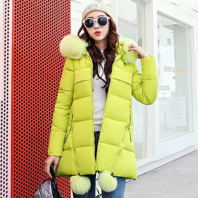 New Winter Jacket Women Long Casual Parkas Solid Full Sleeve Fur Collar Female Hooded Coat Clothing Lovely Style Outwear hooded collar korean new 2014 winter clothing full sleeve solid down jacket slim women casual cotton padded coat ly1066