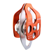 32KN Double Pulley Aluminium Magnesium Alloy Ball Bearings For Mountaineering Climbing Rescue Engineering Protection gm climbing pulley 32kn ce uiaa large rescue double sheave pulley for tree climbing arborist survival mountaineering equipment