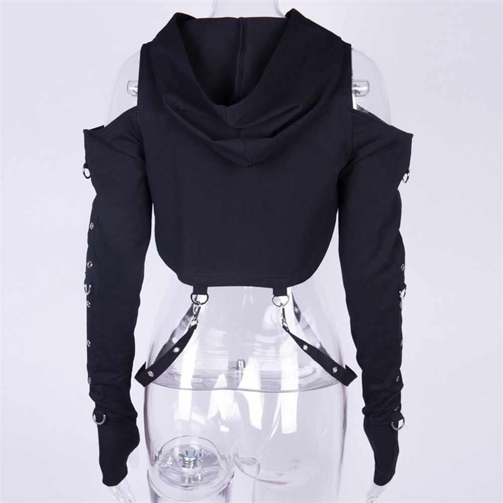 Gothic ย่อย Hollow Out เสื้อกันหนาว Hoodie Sweatshirt หัวเข็มขัด Crop Top Punk Hooded Hoodies ผู้หญิงผ้าพันแผลฟิตเนส Streetwear Gothic Top