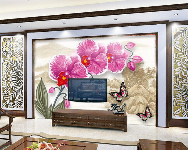 Beibehang Custom wallpaper new Chinese butterfly orchid landscape ...
