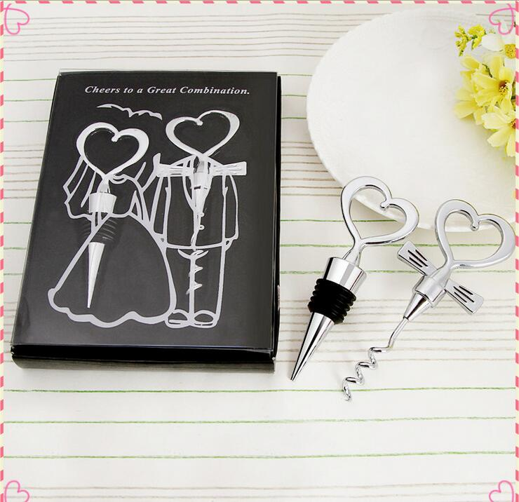 DHL Love Heart Corkscrew Wine Bottle Opener Wine Stopper Wedding Gift Favors for guests Bottle Opener