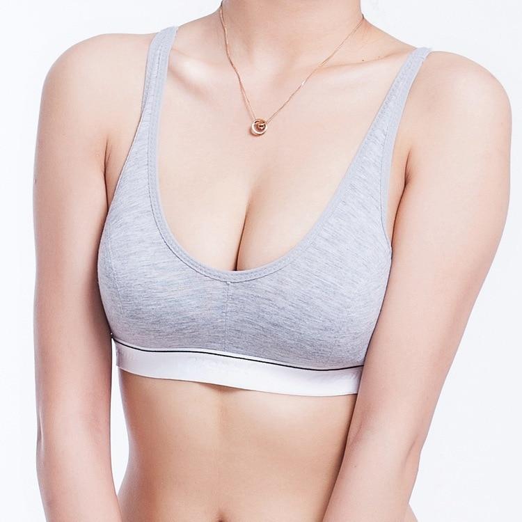 ①  Женщины 100% хлопок бюст пуш-ап спортивные бюстгальтеры для бега Yoga Crop Top Бюстгальтер 70 75 80  ①