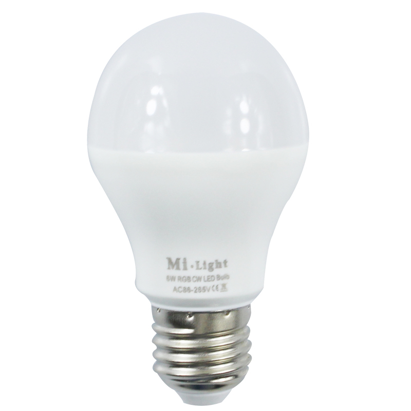 Mi Light 2.4G AC86-265V E27 6W Wifi RGB / RGBW LED Smart Light Bulb Wireless Brightness color Temperature Dimmable LED Bulb