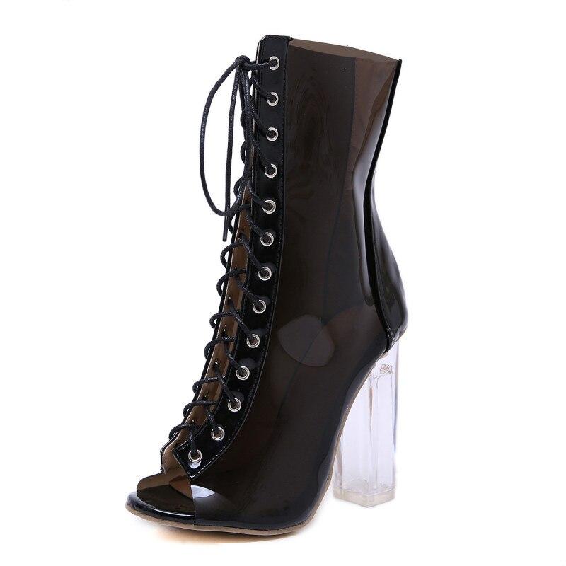 Sexy Chaussures Noir Dames Nouvelle Mode Cristal Boot De 2019 Hauts Transparent Offre Deleventh Carré Talons Femme Spéciale Bottes Femmes Cheville 1TKJclF