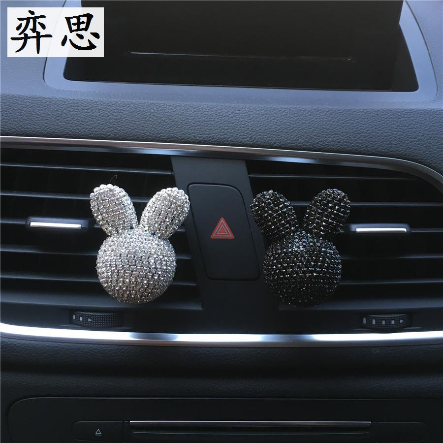 Beautiful seven color diamond Little rabbit styling perfume clip Vehicle air freshener decoration Lovely lady car