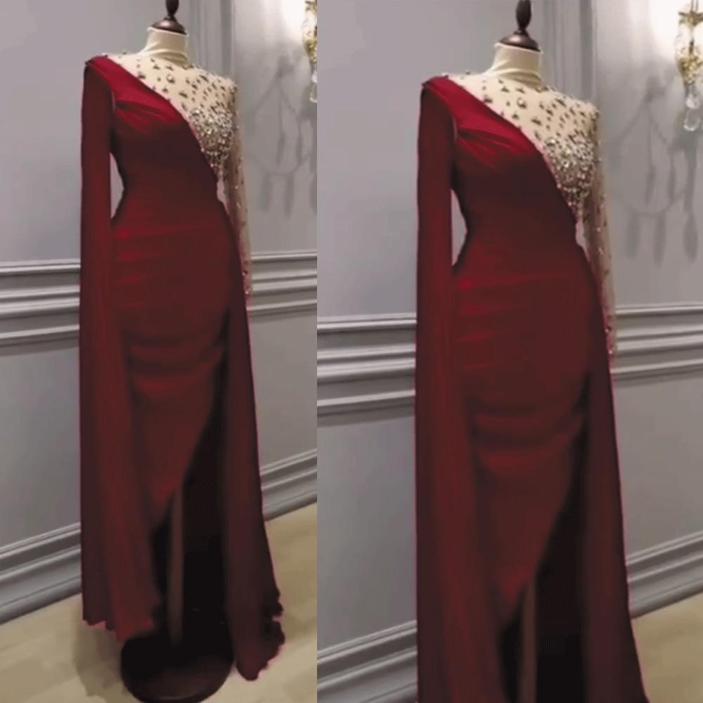SuperKimJo bordeaux robes De soirée à manches longues perlée sirène élégante pas cher robe De soirée courte 2020 Vestido De Festa De Curto