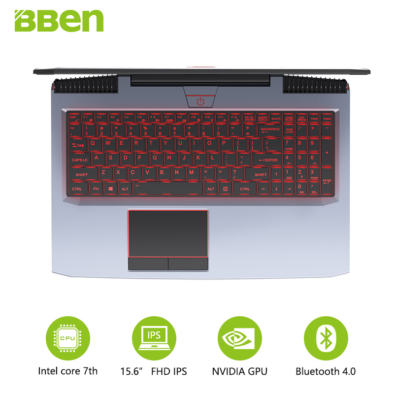 BBEN G16 Gaming Laptops 15.6 IPS Preinstall Win10 Tablet GTX1060 Intel Core i7 7700HQ 8G/16G/32G RAM 256G/512G SSD,1TB/2TB HDD bben g156m 15 6 laptop gaming computer intel i5 6300hq nvidia geforce 940mx 8g ram 256g ssd hdd optional home activated win10