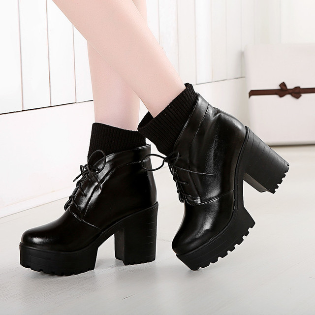 02be9f438170 PXELENA Knitting Martin Boots Women Winter Shoes Lace Up Platform Chunky  Block High Heel Punk Gothic Short Boots Female Footwear