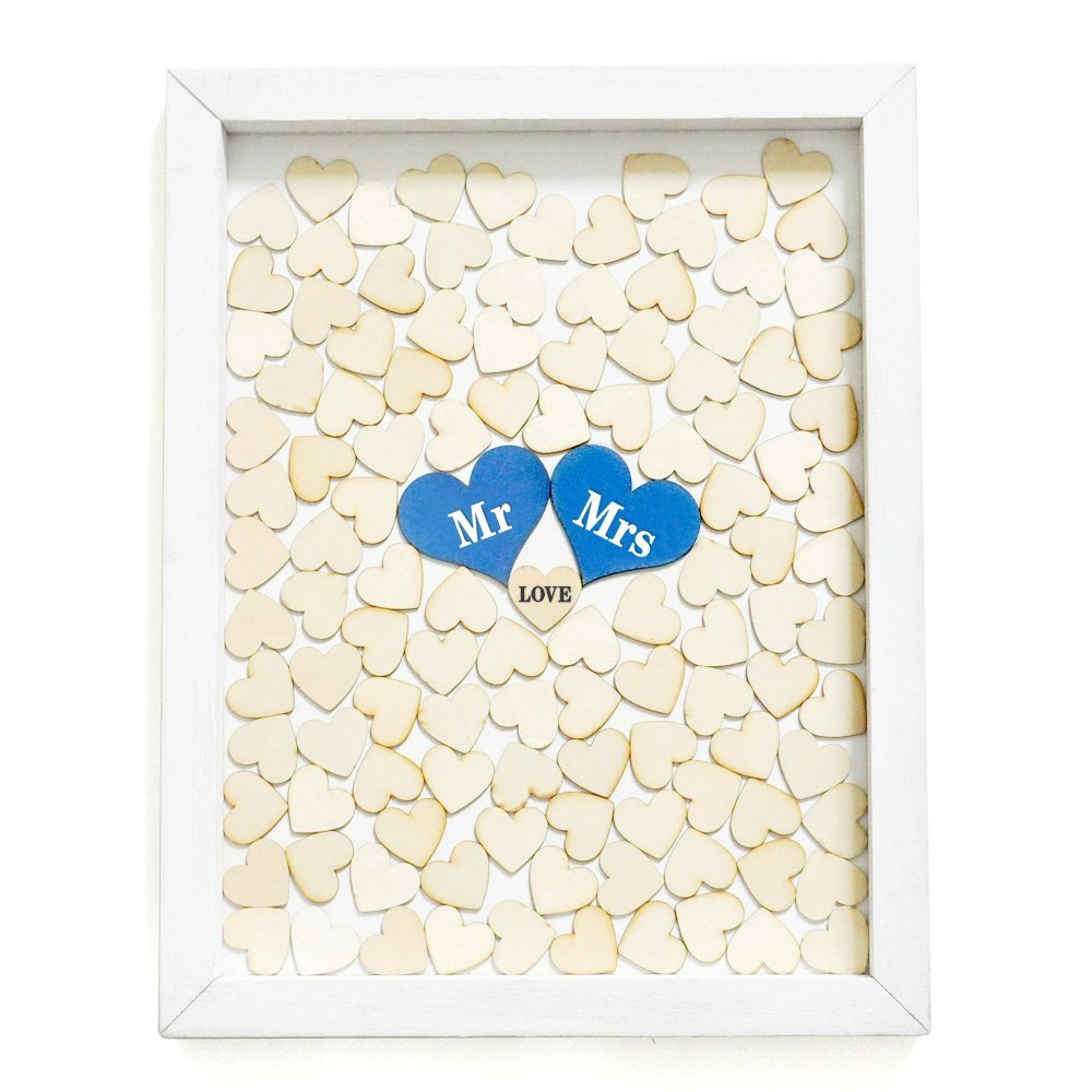 рамка с деревянными сердечками - Personalized Wedding Guest Book Frame Custom Wooden Hearts Guest Book Drop Box Guest Book Mr Mrs Guestbook Wedding Decorations