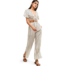 ZAFUL Side Striped Sexy 2 Two Piece Set Women Knotted Crop Top And Slit Pants Sweat Suits Summer Outfits Matching Office Sets apricot lace up slit side two piece outfits