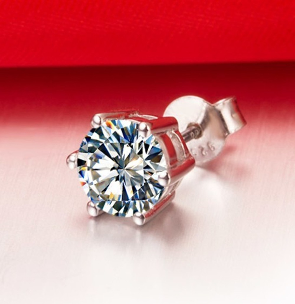 6db163340 Aliexpress.com : Buy Vintage 6Prongs Setting Jewelry Solid 750 Gold Stud  Jewelry 4CT Synthetic Diamonds Engagement Stud Earrings for Women White  Gold from ...