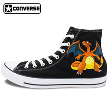 Boys Girls Converse All Star Hand Painted Shoes Women Men Shoes Pokemon Go Charizard Design High Top Canvas Sneakers