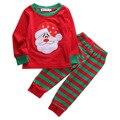 Queda vermelho xma santa 2 pcs infantil da criança Do Bebê roupas de inverno Meninas Miúdos Encabeça Longa Listrada + Calça Roupa de Natal roupas Definir