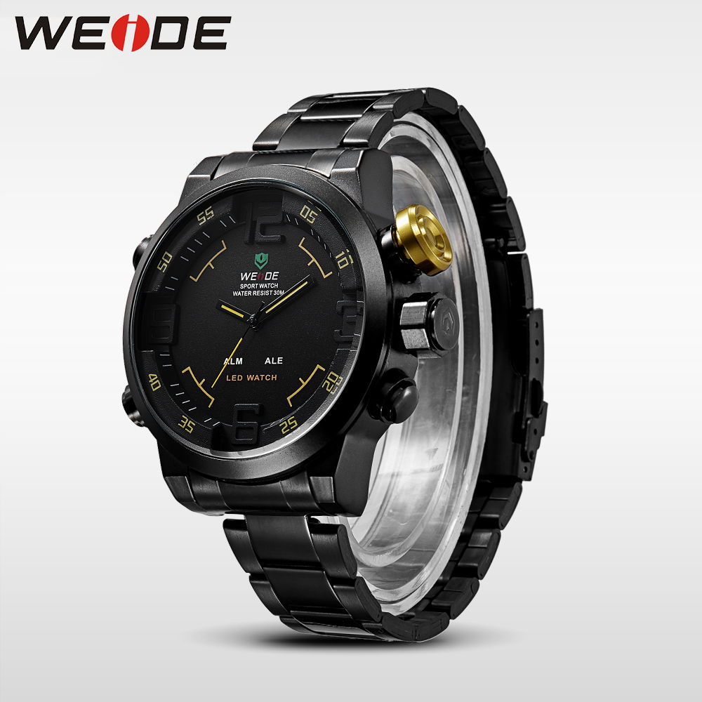 WEIDE Luxury Brand Logo Quartz LED Dual Movement Full Stainless Steel Band Sport Style Digital Running Watches zegarek for mens sp lamp 062a for infocus in3914 in3916 in3916 a lp7200 original bare lamp free shipping