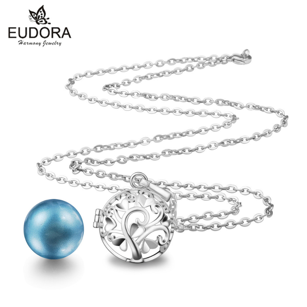 Elegant Family Tree Locket Cage With Colorful Sounds Chime Bell Bola Pendants Necklace for Pregnant Women Gift Jewelry