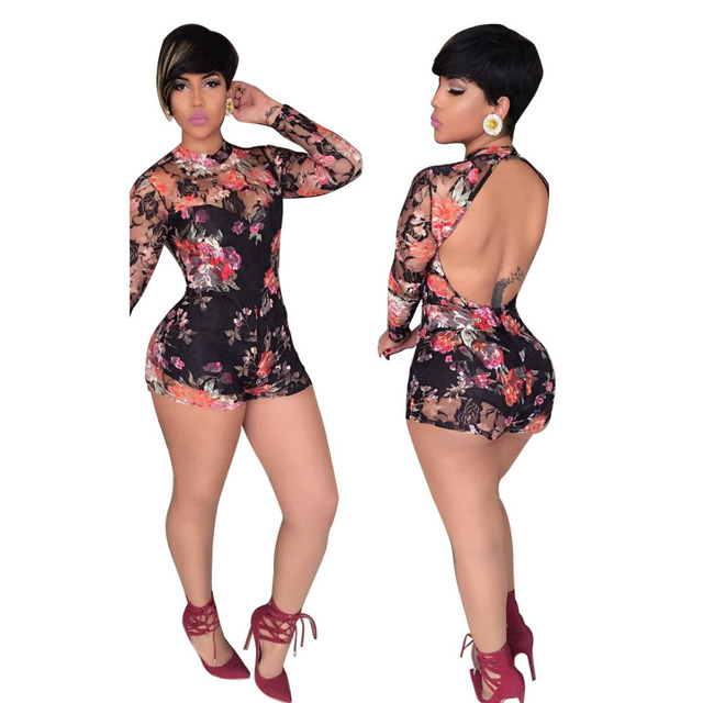 77ed7da34b62 2016 Sexy Club Jumpsuits Long Sleeve Print Rompers Womens Short Jumpsuit  Bodycon Elegant For Women