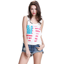 New Arrive 2016 Summer Casual Style Lady's Vest The Stars and Stripes Sleeveless Women's Cotton Tank Tops