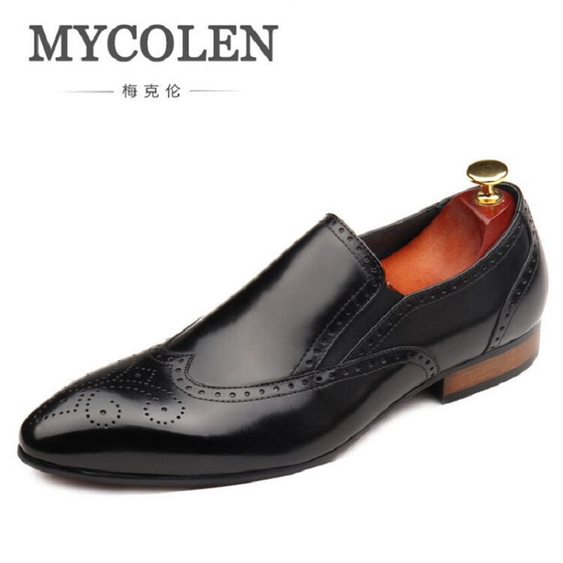 MYCOLEN Luxury Brand Autumn Genuine Leather Men Wedding Brogue Shoes Man Office Formal Pointed Toe Dress sapato social