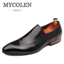 MYCOLEN Luxury Brand Autumn Genuine Leather Men Wedding Brogue Shoes Man Office Formal Pointed Toe Dress Shoes sapato social mycolen brand fashion 2018 summer black flats pointed toe buckle mens dress shoes genuine leather men office wedding shoes