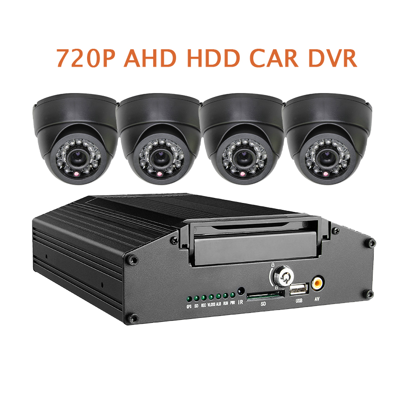 Free Shipping G-sensor H.264 HDD 4CH 720P AHD Car DVR Mobile Video MDVR Recorder Real time Recording Car Dome In-car Camera Kit