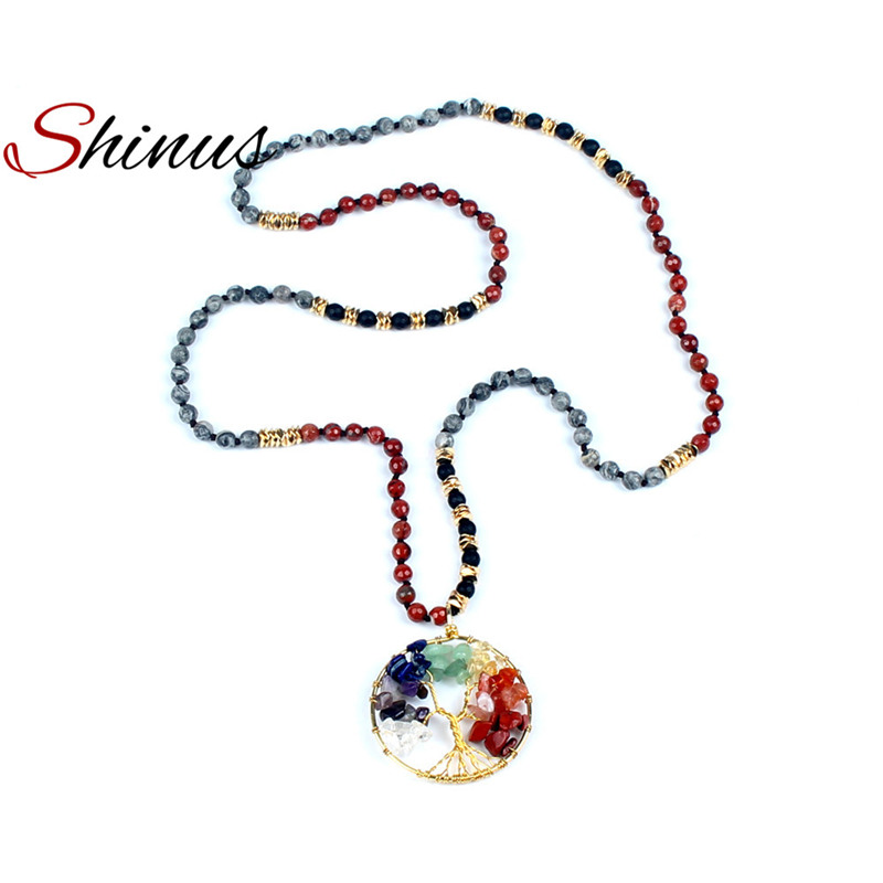 Shinus Boho Necklace Statement Necklaces Women Jewelry Kolye Bohemian Semi Precious Beads Handmade Tree Of Life Pendant Rainbow