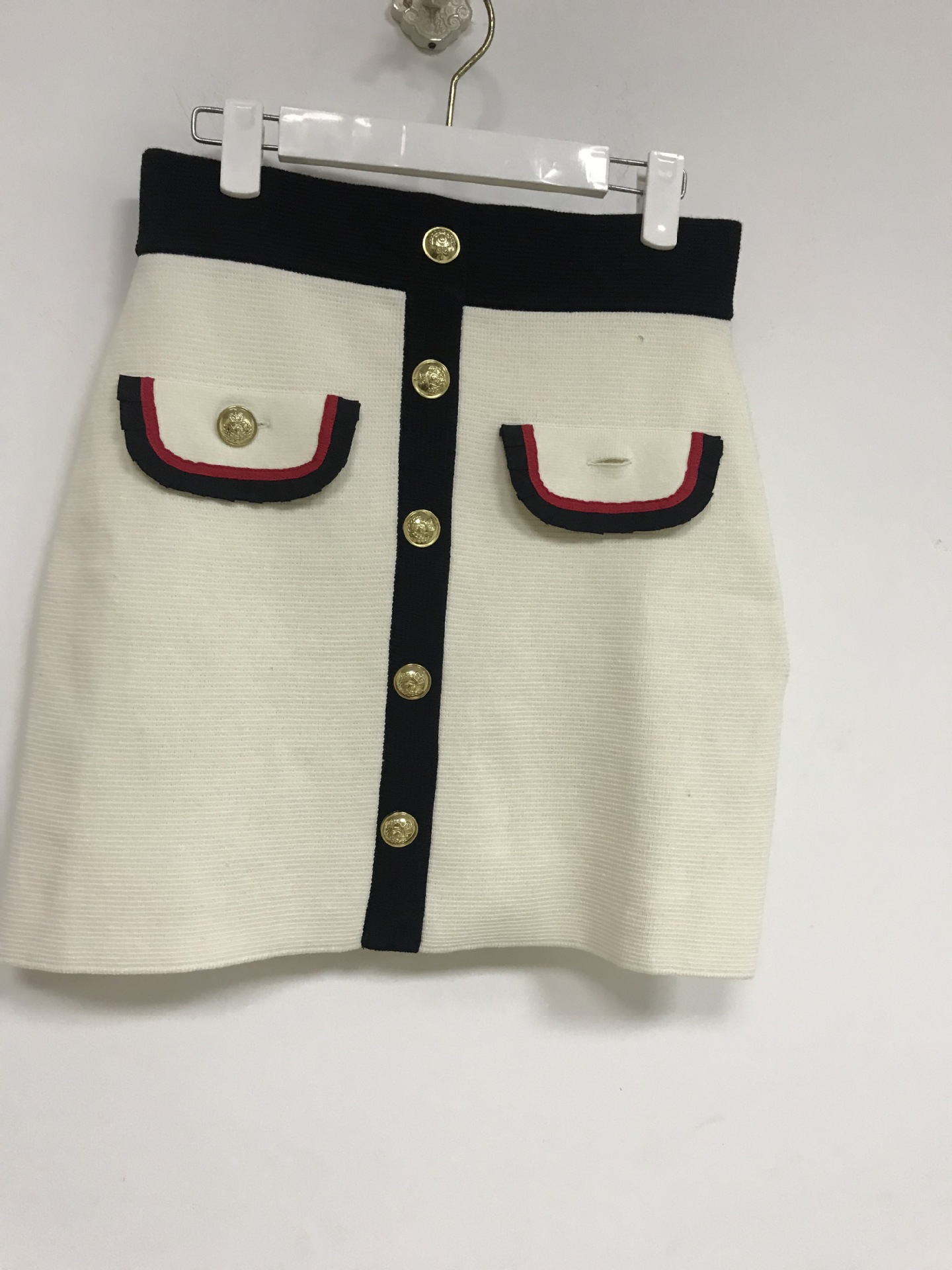 Coloré Haute Jupe Et Gratuite Livraison Printemps Nouveau taille D'été 2019 De Moitié Blanc Court Femmes Bouton HSIYnnqgw