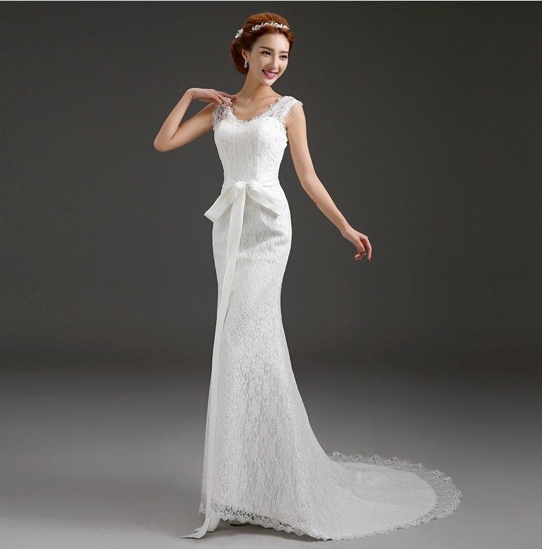 Wang cheap crystal luxurious mermaid wedding dress with satin bow appliques white summer women dress capitao