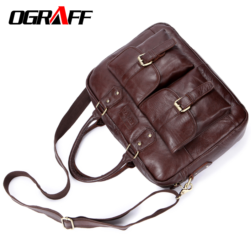 OGRAFF Men Bags Handbag Genuine Leather Briefcases Shoulder Bags Laptop Tote bag men Crossbody Messenger Bags Handbags designer все цены