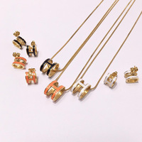 Bilincolor fashion light yellow color earring and necklace enamel jewelry set for women