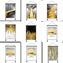 Abstract Fashion Golden Feather Forest Wall Art Paintings Nordic Style Hanging Tapestry Home Decor Decoration Cloth
